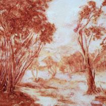 """""""Waldlichtung"""", Kreidezeichnung, 48 * 40 cm"""