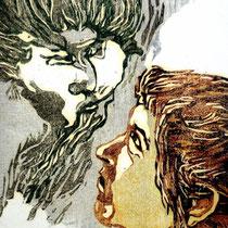 """Luftgeflüster"", Farbholzschnitt, 20 * 16 cm / whisper of the air, color woodcut"