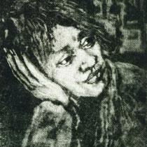 """Lauschend"", Mezzotinto, 18 * 23,5 cm"
