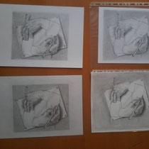Werkstuk grafiet tekening cursisten