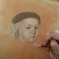 Docente Amy Verhoeff   pastel tekening in progress