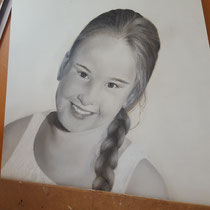 Potloodtekening in progress cursiste Els Veerdonk
