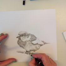 Werkstuk grafiet tekening cursist