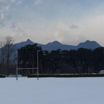 ラグビー場と榛名山