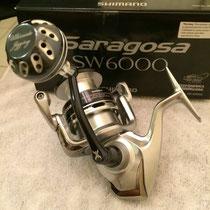 """Shimano Saragosa SW 6000 w/ UJ 40mm Reel Knob w/ """"S"""" Cup"""