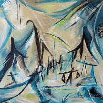 """""""Asien Impressionen"""", Acryl auf Leinwand, 60 cm 60 cm (Verkauft)"""