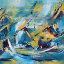 """""""Floating Market"""", Acryl auf Leinwand, 90 cm x 110 cm"""