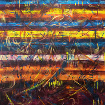 """Farbwelten"", Acryl auf Leinwand, 100 cm x 100 cm  (Verkauft)"