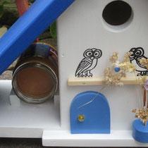 Houten Nestkastje voor Pindakaas pot, Nestkastje, thema, Grieks stijl  Uilen, Vogelhuisje bouwen, vogelhuisje pindakaas pot, huisje uilen_2