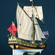 39-57  年代   1674     船籍  イギリス    縮尺 1/64     キットメーカー ウッディジョー Woody Joe     製作者  福島 一(一般)  Hajime Fukushima