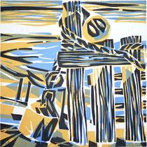 Septemberstrand, Farbholzschnitt, 25 x 25 cm