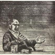 """Der Maler (GR)"" Radierung, Aquatinta, ca 25,5 x 27,5 cm"