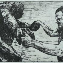 """Tanz der Berserker"", Radierung, Aquatinta, ca 19,5 x 29,5 cm"