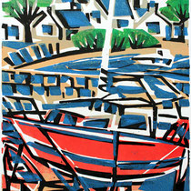 Rotes Boot, Ile de Batz, Farbholzschnitt