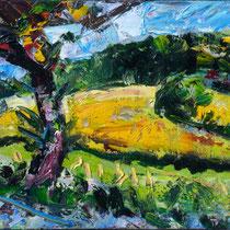 Baum vor Dörrenbach, Öl/Lw 60 x 80 cm