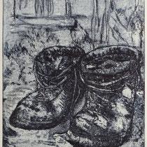 """Gruweschuh"", Radierung, Aquatinta, ca 24,5 x 20,5 cm"