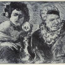 """""""Begegnung mit Malle"""", Radierung, Aquatinta, ca 20,5 x 24,5 cm"""