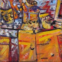 Großes Atelier, Öl/Lw 100 x 100 cm, 2017