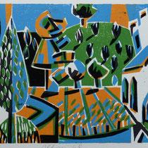 Altmühl-Triptychon, Farbholzschnitt