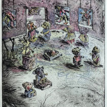 """""""Guten Abend"""" - Kaltnadel-Radierung - aquarelliert; 32 x 24,5 cm"""
