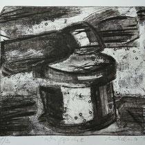 """Dippche"", Radierung, Réservage, Prägedruck, ca 24 x 28 cm"
