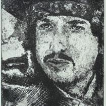 """""""Bob D."""", Radierung, Aquatinta, ca 25 x 20 cm"""