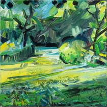 Kleines Gartenbild III , Öl/Lw 60 x 60 cm, 2017
