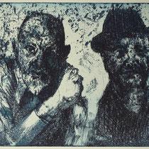 """""""Zwei alte Männer, schnodderig"""", Radierung, Aquatinta, ca 24,5 x 29 cm"""