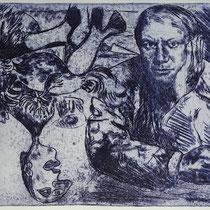 """Pablo.Frau.Hahn"", Radierung, Aquatinta, ca 20 x 25 cm"
