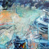 Landschaft mit Flaschen, Öl/Lw