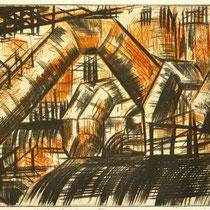"""""""ausgebrannt"""", Radierung, Kaltnadel, (2 Platten) 25 x 43,5 cm"""