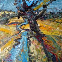 """""""Baum bei Leitersweiler"""", Öl/Lw 100 x 100 cm, 2020"""