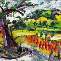 Baum an Wegegabelung, Öl/Lw 50 x 70 cm, 2019