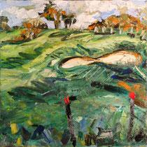 Grüne Welle, Öl/Lw 100 x 100 cm