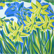 Aprilschaf, Farbholzschnitt, 25 x 25 cm