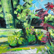 Kleines Gartenbild II , Öl/Lw 60 x 60 cm, 2017