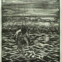 Radierung, Aquatinta, Kaltnadel, ca 20 x 18 cm