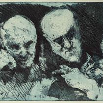 """A. Kiefer u. H. Matisse"", Radierung, Aquatinta, ca 24,5 x 29 cm"
