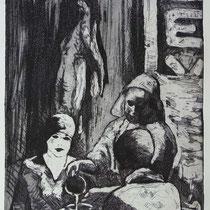 """""""Vermeer trifft Hopper"""", Radierung, Aquatinta, ca 29,5 x 19,5 cm"""