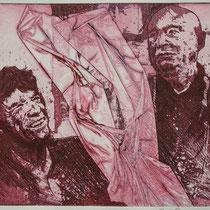 """Mick trifft G.B."", Radierung, Aquatinta, ca 20 x 25 cm (Variante)"