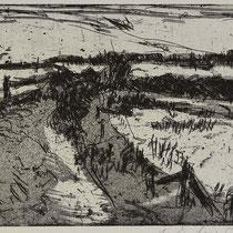 """Geltinger Birk"", Radierung, Aquatinta, ca 12,5 x 20 cm"