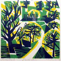 Ginster oder so ..., Farbholzschnitt, 35 x 35 cm