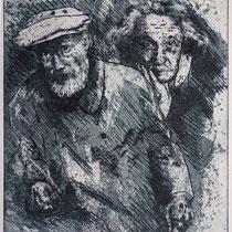 """Auguste R. u. Albert E."", Radierung, Aquatinta, ca 30,5 x 25,7 cm"