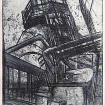 """""""à G. B. Piranesi"""", Radierung, Aquatinta, Schmirgelpapier, ca 24,5 x 20,5 cm"""