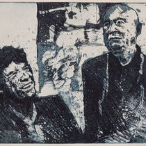 """Mick trifft G.B."", Radierung, Aquatinta, ca 20 x 25 cm"