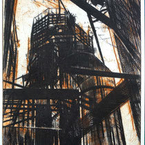 Radierung, Kaltnadel,  (2 Platten) ca 32,5 x 24,5 cm