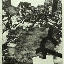 """Black line"", Radierung, Aquatinta, Kaltnadel, ca 24,5 x 23,5 cm"