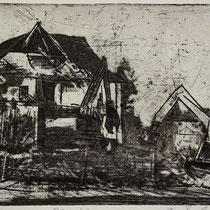 """""""Abriss"""", Radierung, Aquatinta, ca 16 x 24,5 cm"""