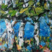 """Vier Birken"", Öl/Lw 100 x 100 cm, 2020"