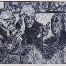 """G.R. u. A.K. - Gespräch mit Picasso"", Radierung, Aquatinta, ca 20,5 x 24,5 cm"